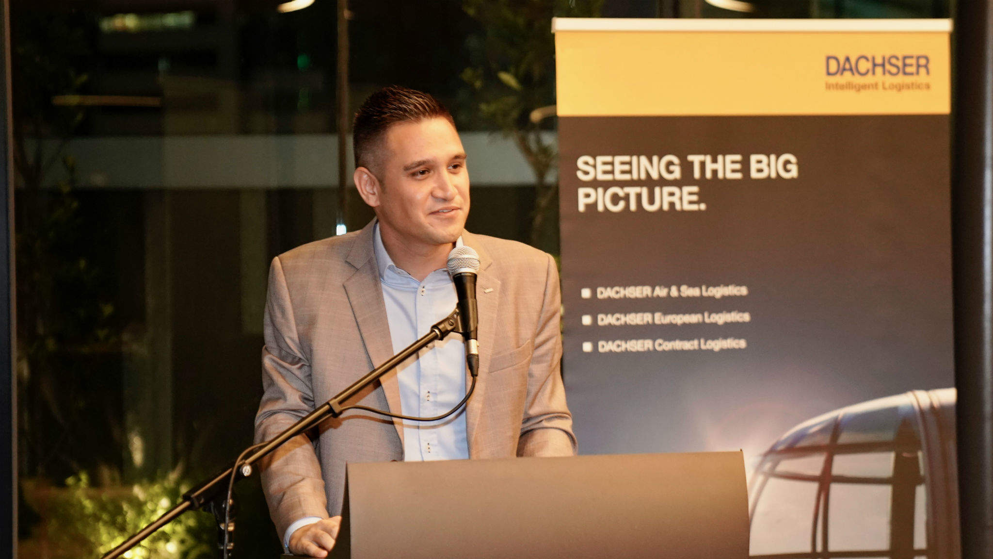 Daniel Pohl, Managing Director Air & Sea Logistics Malaysia, at his welcome speech.